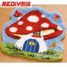 latch hook rug kits diy needlework unfinished crocheting rug yarn cushion mat embroidery carpet rug mushroom