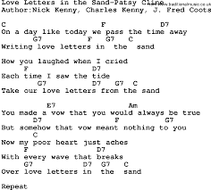 love letters in the sand patsy cline