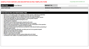 description of server for resume 29052017 food server job description