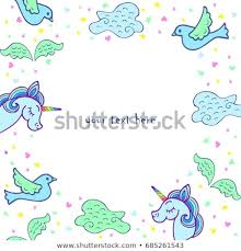 Cute Template Cute Template Unicorn Wings Bird Cloud Stock Vector Royalty Free