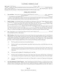 Standard Commercial Lease Agreement Free Printable California Commercial Lease Agreement Printable