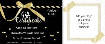 customized gift certificates business 0