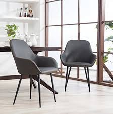 roundhill furniture c281gy horgen contemporary faux leather dining chairs gray set of 2