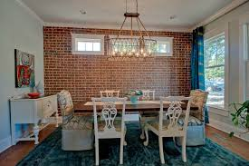 interior brick wall dining room craftsman with dark wood cabinetry wallpaper and covering professionals