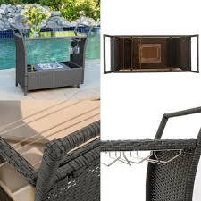 furniture bar cart modern outdoor patio garden wheels storage cocktail wicker