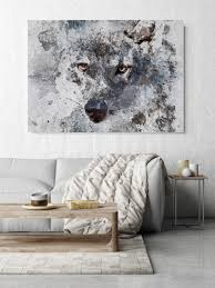 zidane blue wolf extra large wolf canvas unique wolf wall decor brown blue rustic wolf canvas art print up to 72 by irena orlov