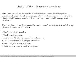 Management Cover Letter Director Of Risk Management Cover Letter