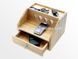 2015 international Small Bamboo Storage Box Mobile Phone Charging Station  Organizer