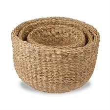 large round seagrass basket set