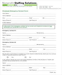 Employee Emergency Contact Form Template Emergency Contact List Template Australia Emergency Contact