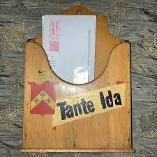 VTG Wooden Kitchen Wall Pocket Mail Letter Recipe Box Holder Aunt Ida Knight  | eBay