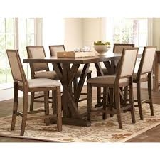 sontuoso rustic trestle base european design counter height 7 piece dining set for the home dining rustic style and barn doors