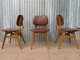dutch mid century vinyl dining chairs set of 3