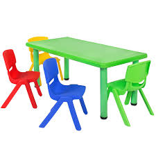 school table. Amazon.com: Best Choice Products Multicolored Kids Plastic Table And 4 Chairs Set Colorful Furniture Play Fun School Home: Home \u0026 Kitchen