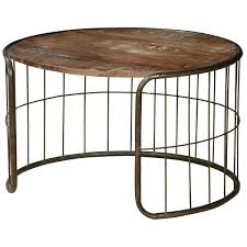the fence mango wood iron rustic 30 round coffee table