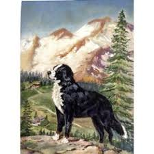 boatswain dog. the bernese mountain dog berner sennenhund oil painting on artist panel board boatswain