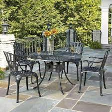 largo 48 in cast aluminum charcoal outdoor 5 piece patio dining set