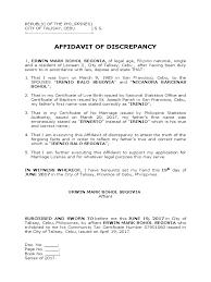 Sample Certificate Of Discrepancy Cepoko Com