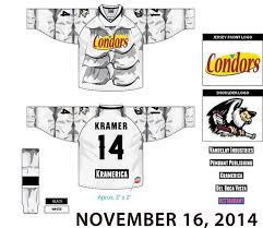 here s a look at the jerseys which also feature the condors name spelled out in similar script as the seinfeld le