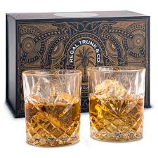 diamond cut whiskey rocks glasses set