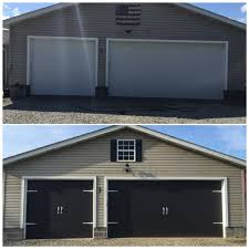 Faux Garage Door Hardware Before And After Garage Doors Painted The Garage Doors Black