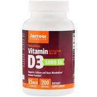 Jarrow Formulas, <b>Vitamin D3</b>, <b>Cholecalciferol</b>, <b>1,000</b> IU, 200 Softgels ...