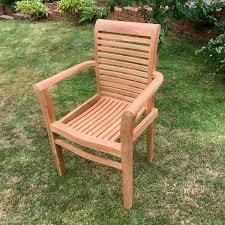 stacking teak garden armchair saville