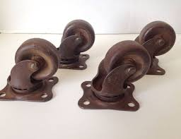 industrial furniture hardware. Antique Casters Lot Of 4 Industrial Rotating 1 1/2 Inch Wheel Marked \ Furniture Hardware C