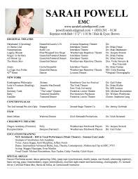 Template Resume Acting Template For Study Actor Word Beg Acting