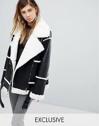 monki faux leather shearling biker jacket l21q9 for women