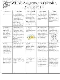 Whap B Day Calendar August 2007
