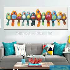 funny hand painted canvas oil painting colorful birds canvas art cute lovely bird picture abstract home on colorful birds canvas wall art with funny hand painted canvas oil painting colorful birds canvas art