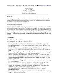 Sample Resume Management Position