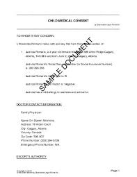 canada child medical consent permission letter for medical treatment
