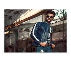 men s fashion winter clothing jackets coats blue leather jacket for men women with white stripes and snap on studded savers pk