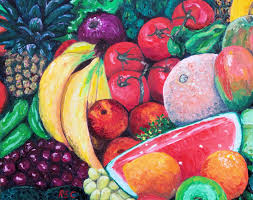 rossana currie another bunch of fruits painting oil artwork abstract figurative art for
