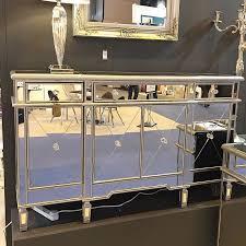 versailles silver venetian mirrored 3 drawer 4 door sideboard