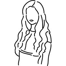 シンプルイラスト チューブトップの女性線画 無料イラスト