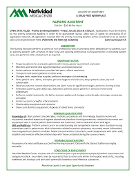 Nurse Aide Job Description For Resume Free Resume Example And