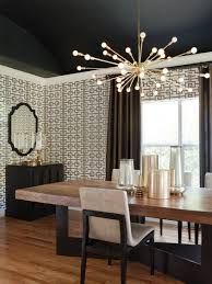 dining room dining room light fixtures. glamorous dining room by lizette marie interior design beautiful created the black ceiling graphic wallpaper and rustic table combined with a light fixtures m