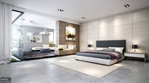 Example of a minimalist concrete floor and gray floor bedroom design in  Austin