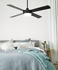 white ceiling fan in bedroom. futura eco 132cm fan with led light in black | ceiling fans lights white bedroom