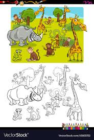 Safari Animals Template Safari Animals Coloring Page