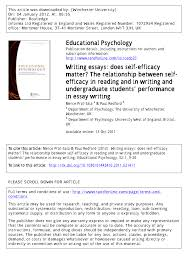 writing essays does self efficacy matter the relationship  the relationship between self efficacy in reading and in writing and undergraduate students performance in essay writing pdf available