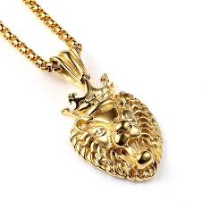 whole fashion men 18k gold hip hop jewelry vacuum lion head pendant necklace punk hip hop rock rap gold chains for men necklaces choker necklace from