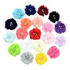 1PC Pearl Rhinestone Chiffon <b>Flowers Hair Accessories</b> DIY Flower ...