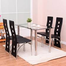 breakfast furniture sets. Costway 5 Piece Dining Set Glass Table And 4 Chairs Home Kitchen Breakfast Furniture Sets G