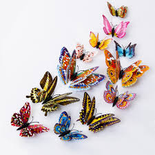 <b>12pcs 3D Double</b> Wing Fluorescence <b>Luminous</b> Butterfly with ...