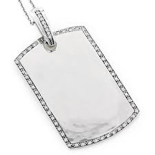 engravable dog tags for men gold diamond pendant 0 60ct 14k white image