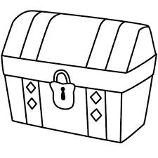A Simple Drawing Of Locked Treasure Chest Coloring Page Sunday